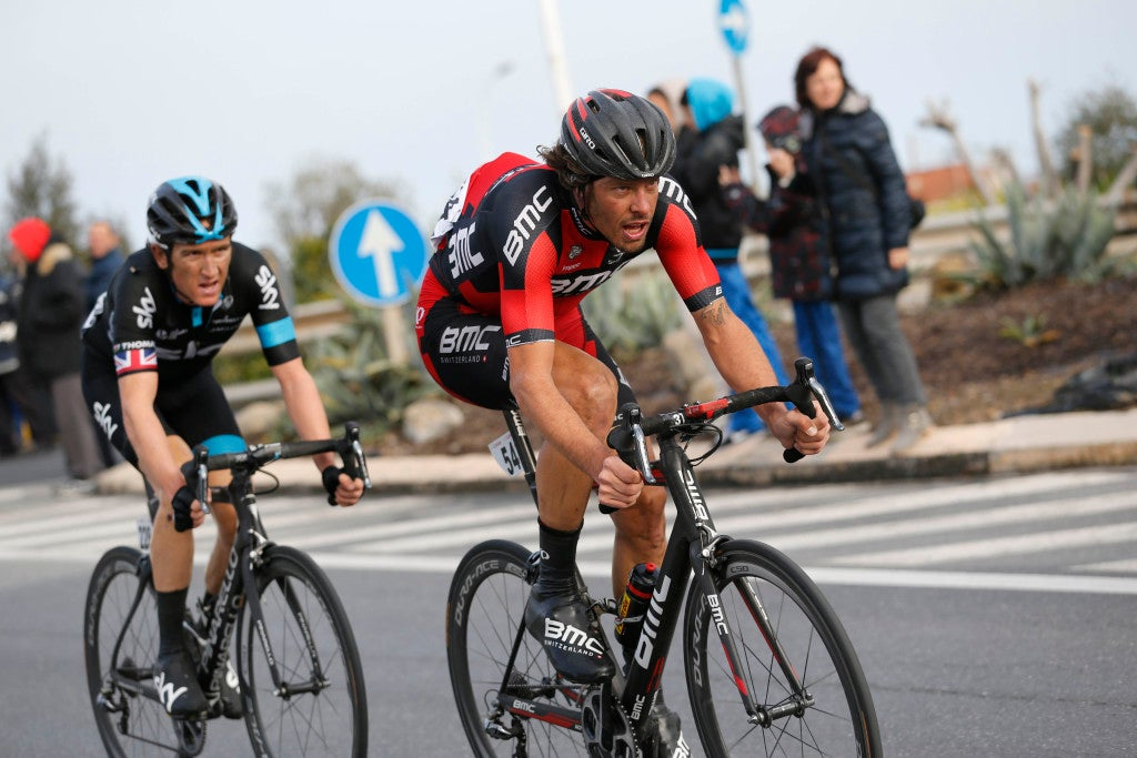 Daniel Oss made a hard attack within the last 40km of the race, he was joined by Geraint Thomas and latter attacked and left in no-mans-land
