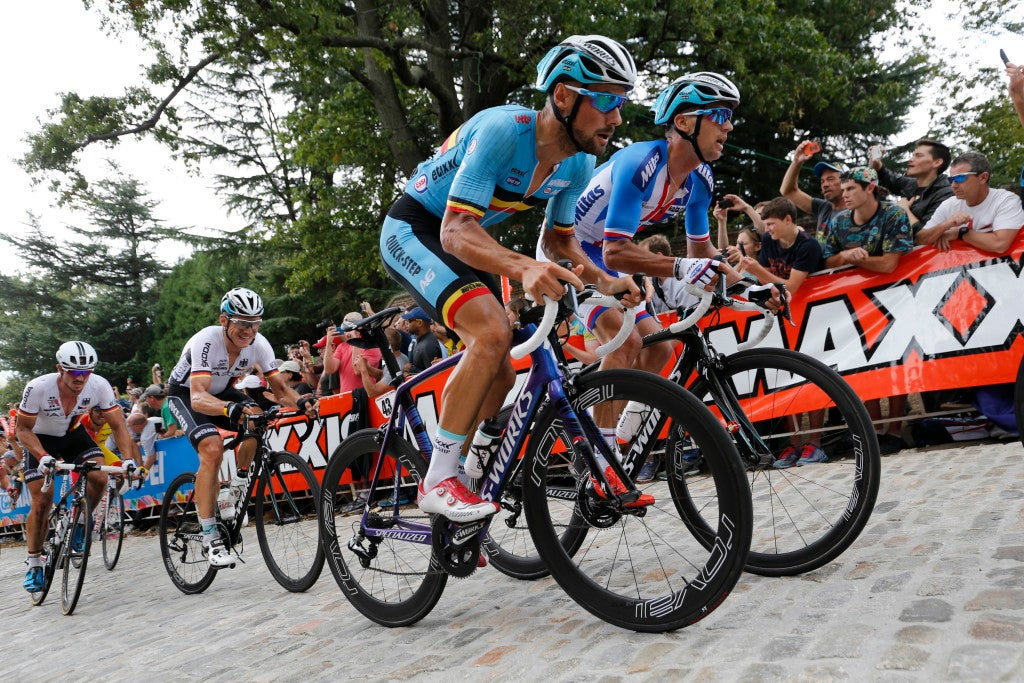 27 September 2015 Road World Championships (Richmond, USA) Men Elite BOONEN Tom (BEL) Etixx - Quickstep STYBAR Zdenek (CZE) Etixx - Quickstep Photo : Yuzuru SUNADA