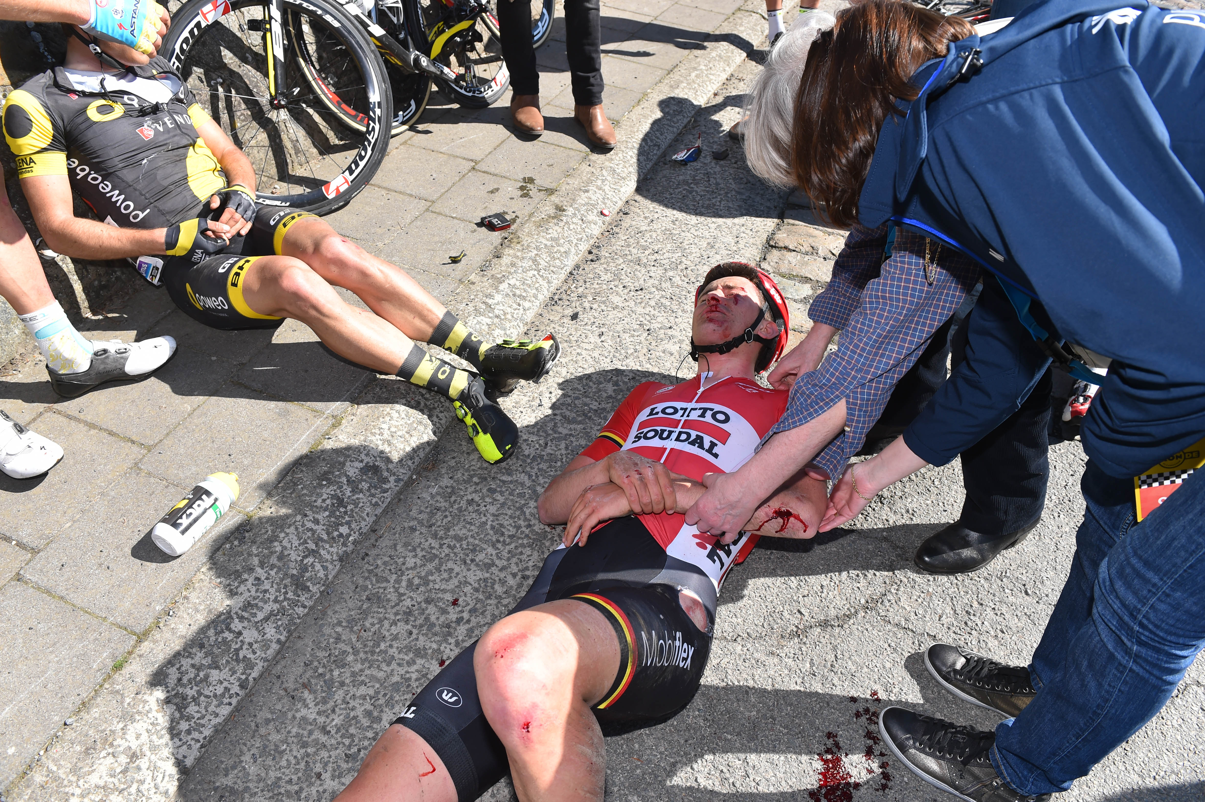 Crashes, like this one for Tiesj Benoot last year, are an ever-present danger at De Ronde.