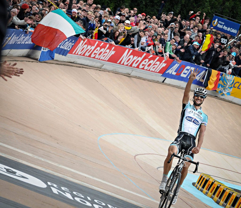 Boonen winning his fourth Paris-Roubaix. According to the Belgian, it was his greatest day on a bike.