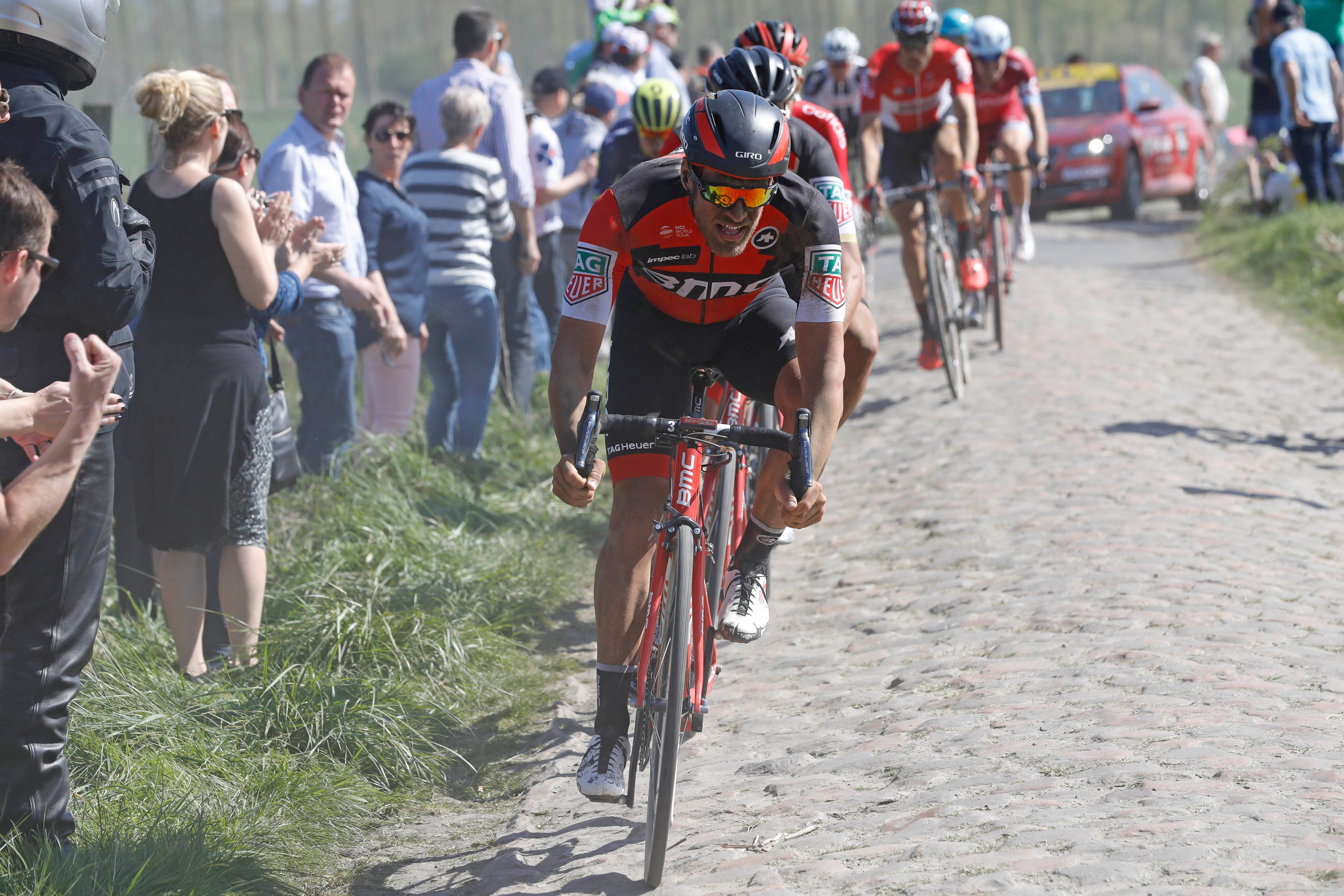 BMC domestique Jumpy Drucker pulled his leader Greg Van Avermaet in a 20km chase after mechanicals and bike changes put the eventual winner off the back with 95km to go.