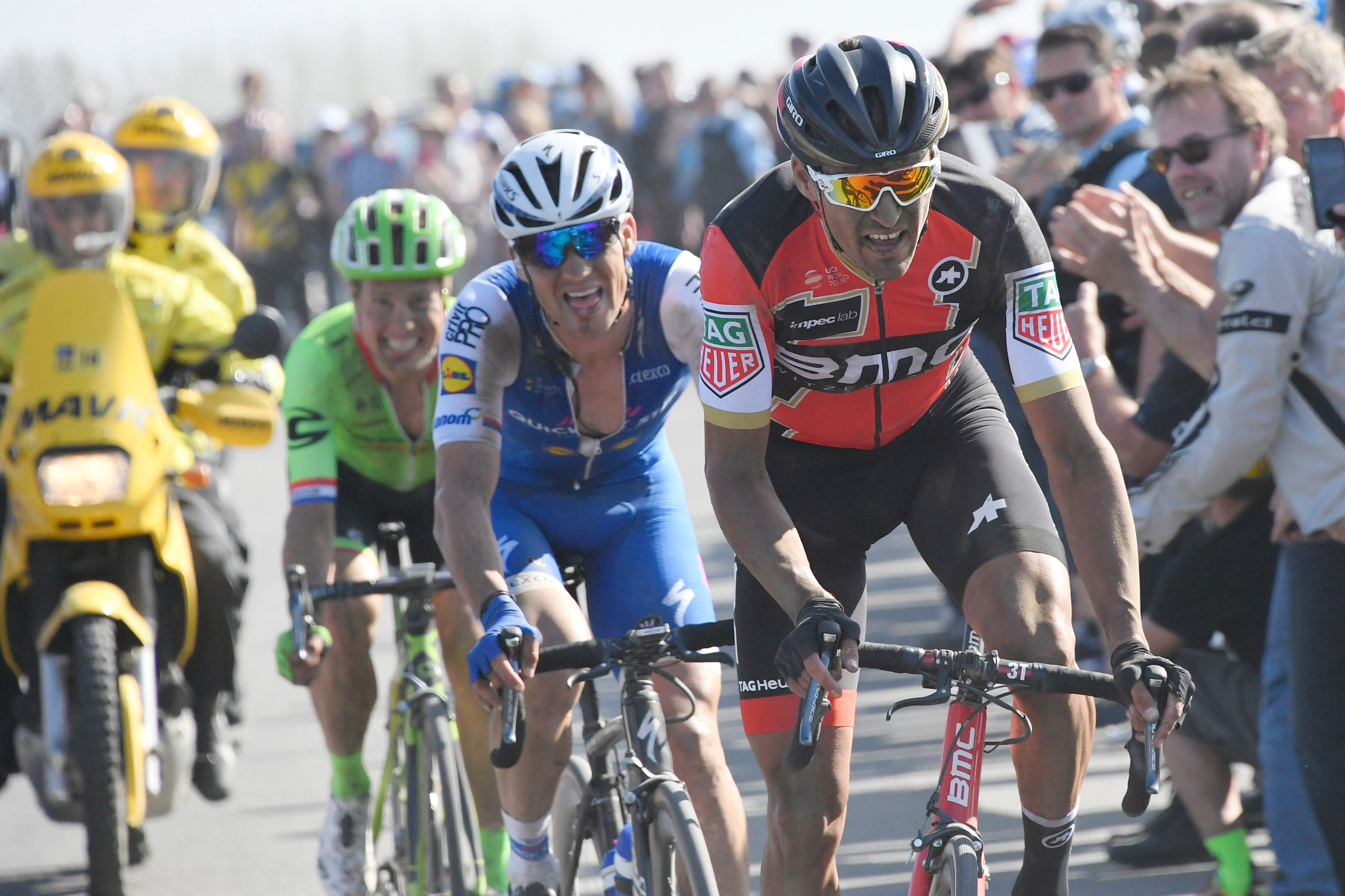 Greg Van Avermaet made the winning attack on the Carrefour de l'Arbre cobbles, followed by Zdenek Stybar and Sebastian Langeveld in the fastest-ever edition of Paris–Roubaix.