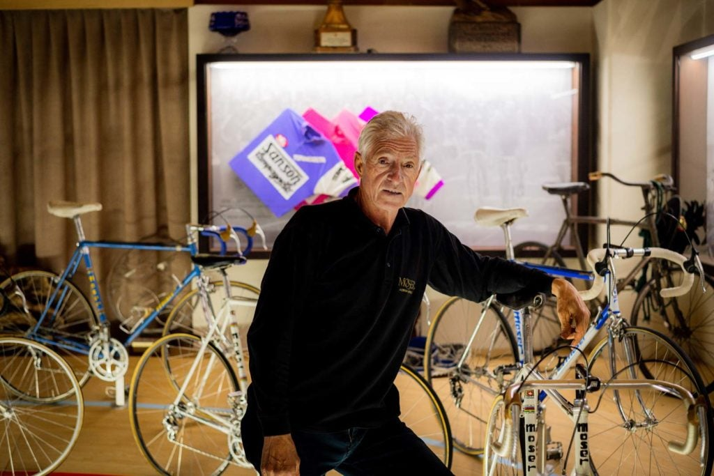 Francesco Moser with his bikes